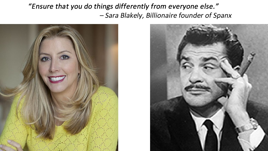 Photo and quote from Sara Blakely, Billionaire founder of Spanx
