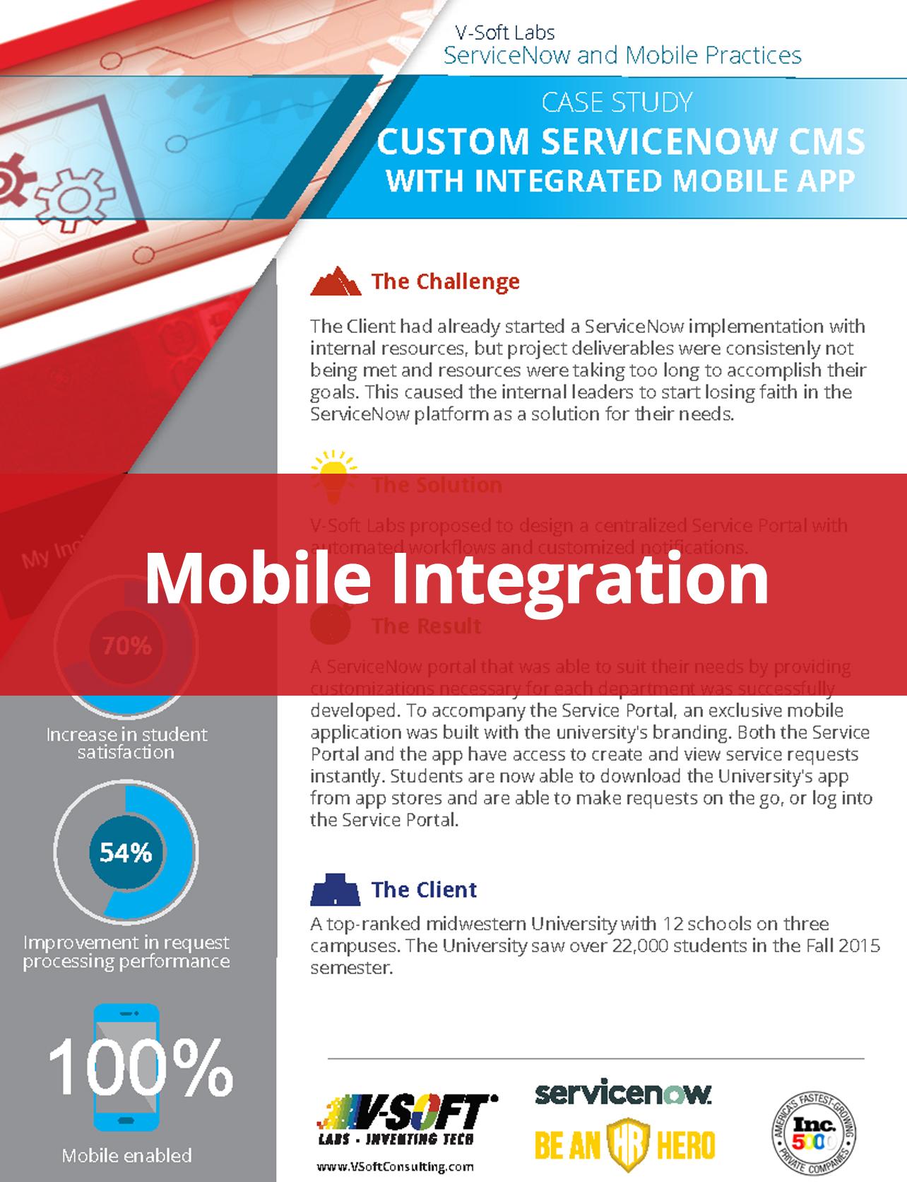 University ServiceNow Mobile Integration